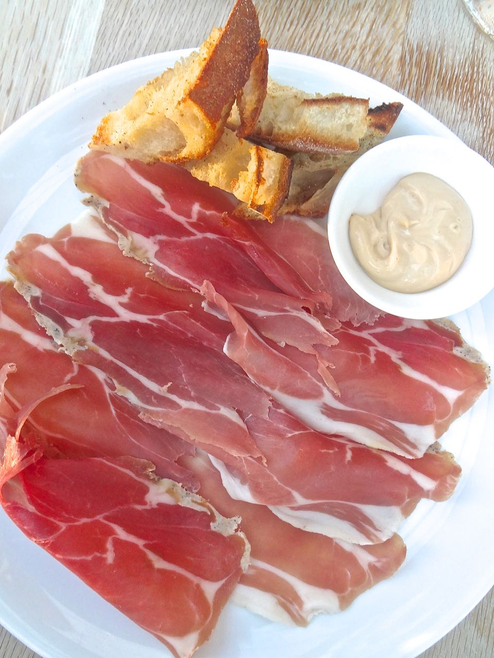 Cured Niagara Ham with red eye mayonnaise and grilled sourdough bread