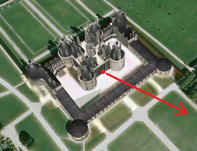 Le château de Chambord par Google-Earth.