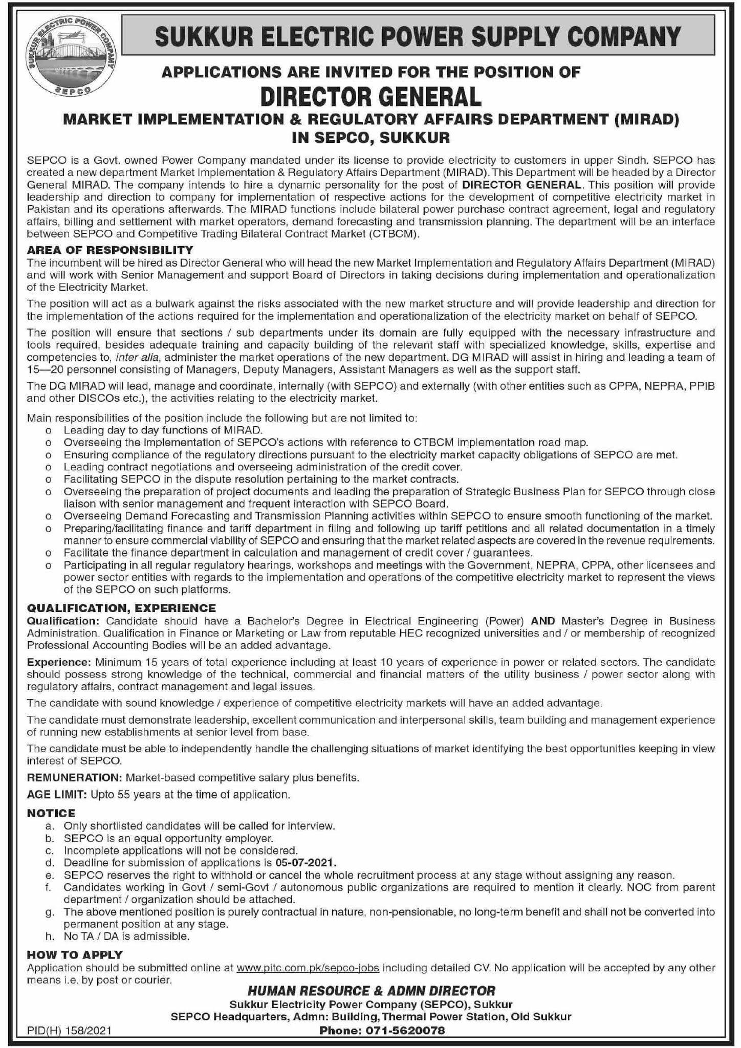 www.pitc.com.pk Jobs 2021 - Sukkur Electric Power Supply Company (SEPCO) Jobs 2021 in Pakistan