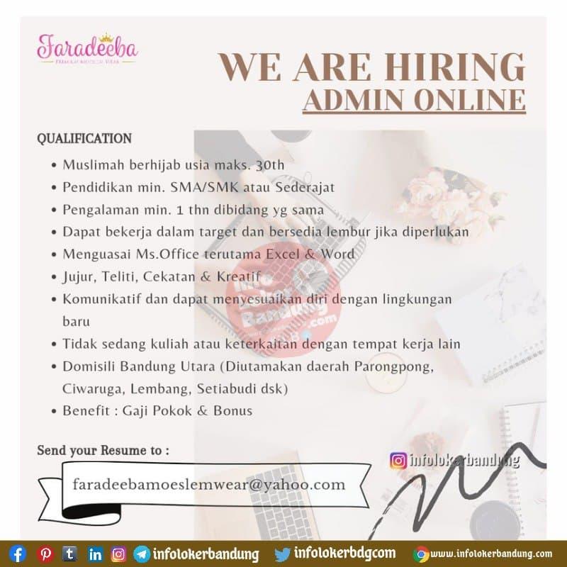 Lowongan Kerja Faradeeba ( Premium Moeslem Wear ) Bandung Juni 2021
