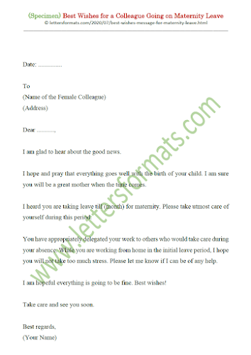 best wishes maternity leave sample letter