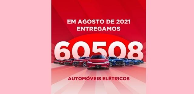 Com quatro meses consecutivos de recordes de vendas, BYD comercializa 60.508 automóveis elétricos em agosto