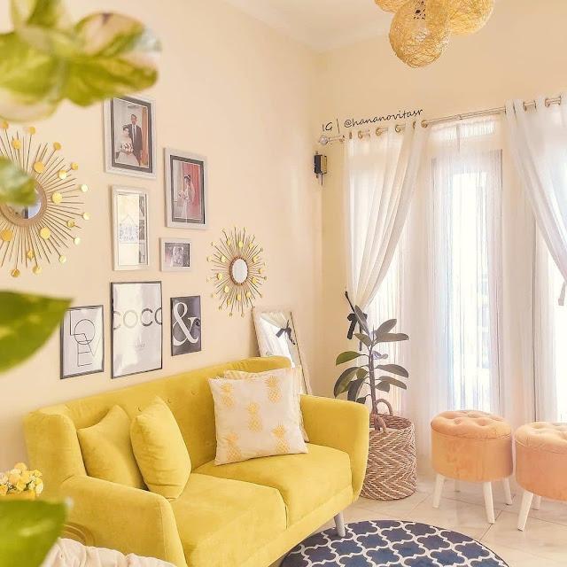 Ruang Tamu Minimalis Nuansa Kuning Terbaru
