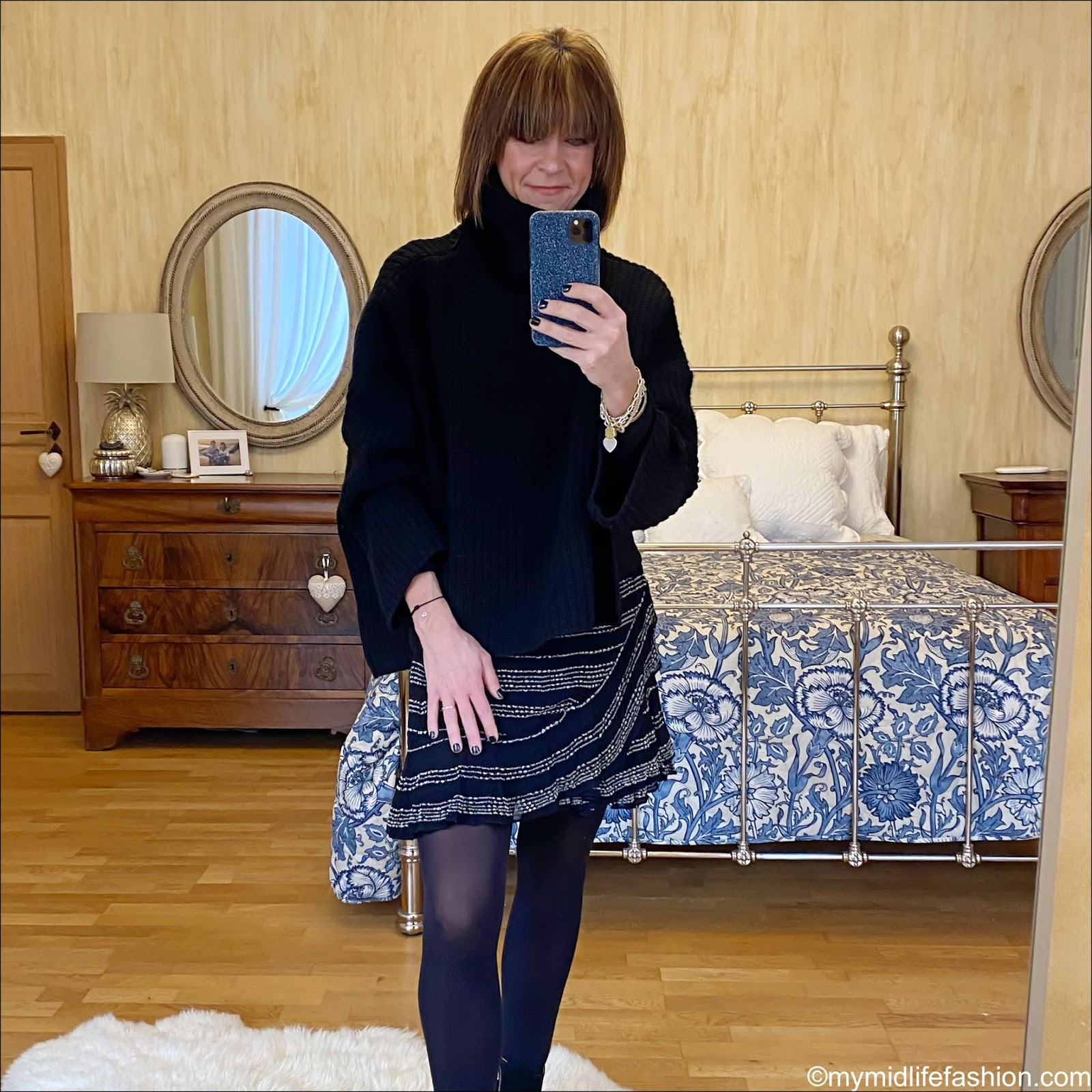 my midlife fashion, Joseph oversized roll neck jumper, iro metallic ruffle short skirt, iro suede ankle boots