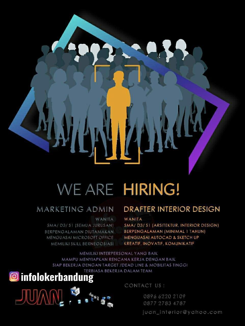 Lowongan Kerja Marketing Admin & Drafter Interior Design Juan Interior Bandung Juni 2020