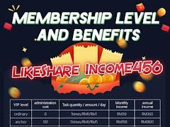 Duit Percuma LikeShare Income456: Jom Buat Income Dari Rumah Hanya Dengan Smartphone!