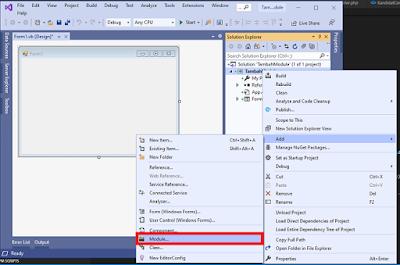 Cara menambahkan Modul dan class pada VB.Net menggunakan visual studio