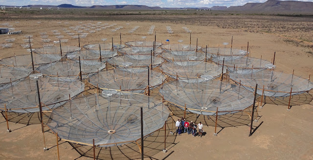 The Hydrogen Epoch of Reionization Array (HERA) radio telescope in South Africa is a key ingredient in an international project, which ASU has joined, to investigate the early universe immediately after its birth in the Big Bang. Photo by Kathryn Rosie