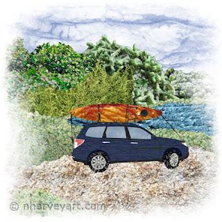 """""""Paddling Day"""" car with kayak at lake art photomontage"""