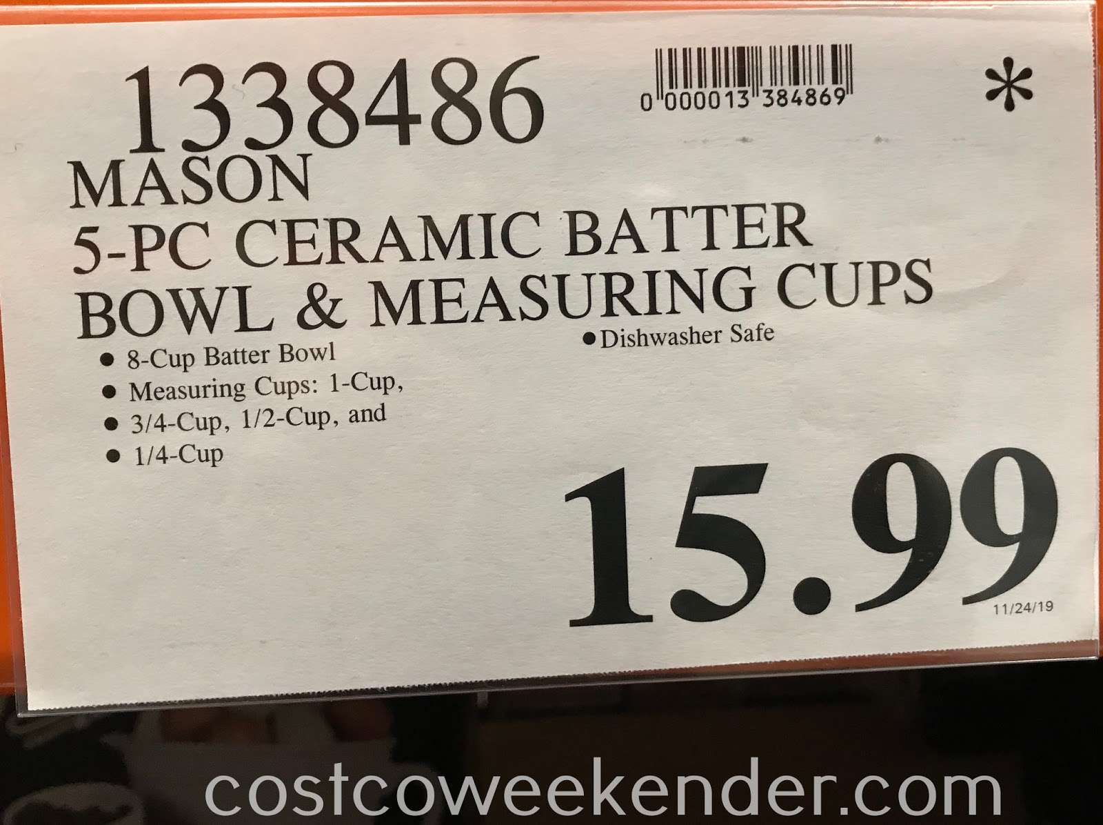 Deal for the Mason 5-piece Ceramic Batter Bowl and Measuring Cup Set at Costco