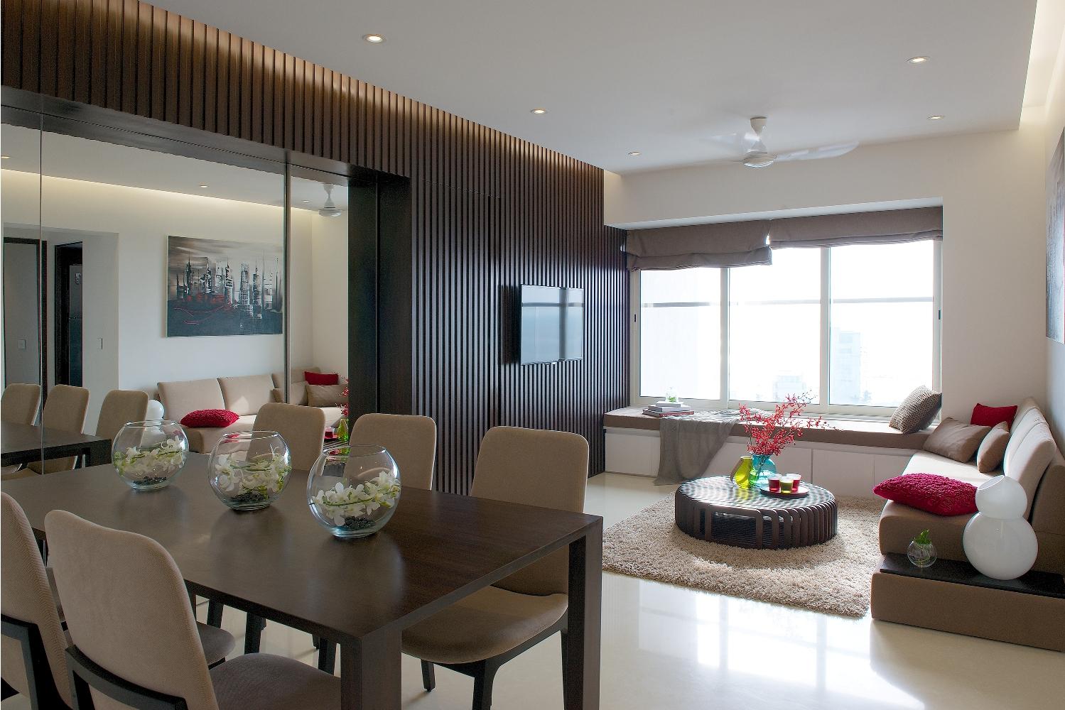 Desain Interior Ruang Keluarga Dan Makan Minimalis Yang Menyatu