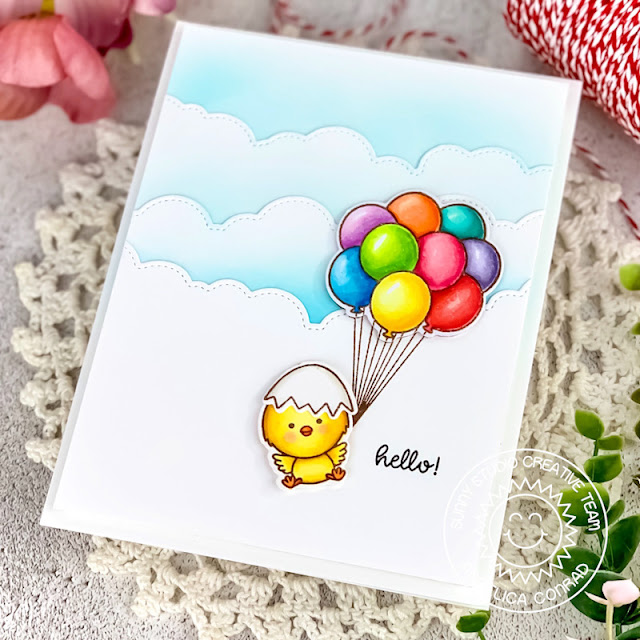 Sunny Studio Stamps: Floating By Chickie Baby Fluffy Cloud Border Dies Everyday Card by Angelica Conrad