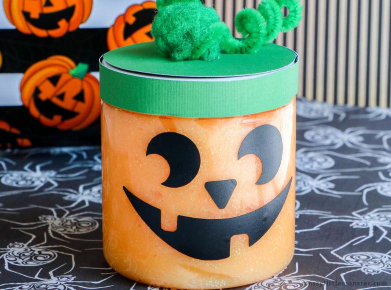 Halloween slime in a jar