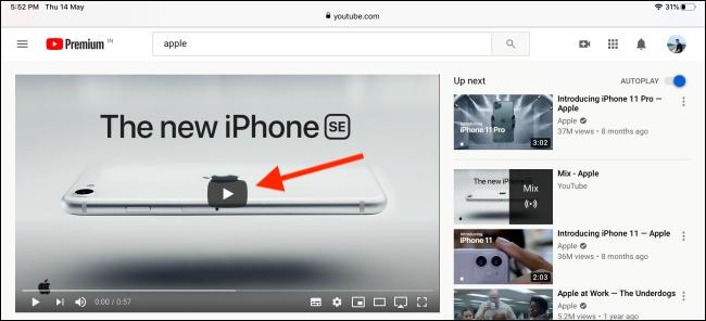 اضغط على زر التشغيل لتشغيل الفيديو في Safari