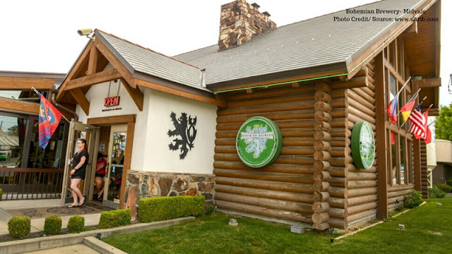 front entrance to Bohemian Brewery with their distinct green logo