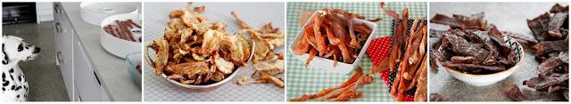 A variety of homemade dehydrated dog jerky treats