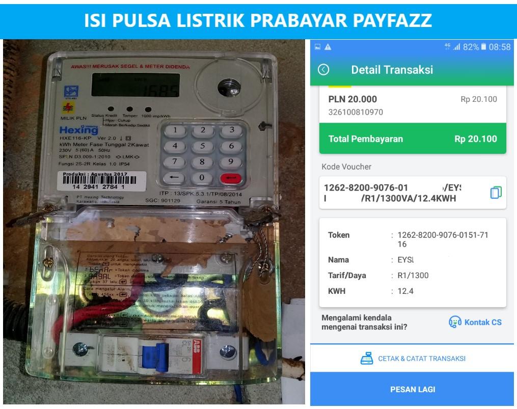 Cara Isi Pulsa Listrik Prabayar (Beli Token PLN Di Payfazz)