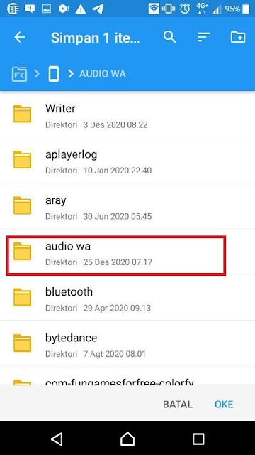 pilih folder audio Wa