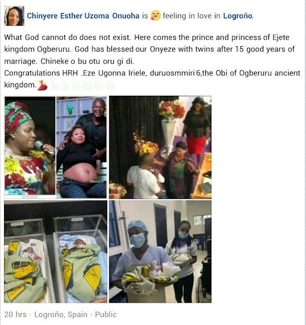 Imo traditional ruler and his wife welcome twins after 15 years of waiting (Photos)