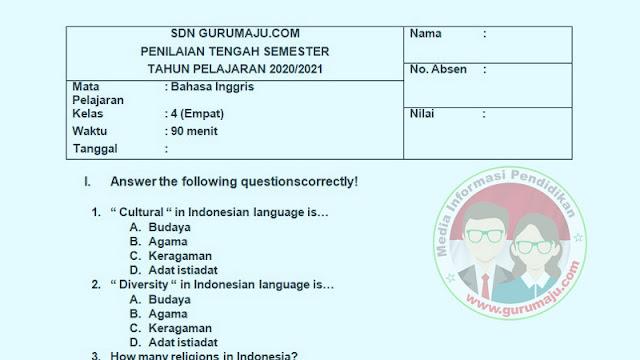 Soal PTS Bahasa Inggris Kelas 4 Semester 1