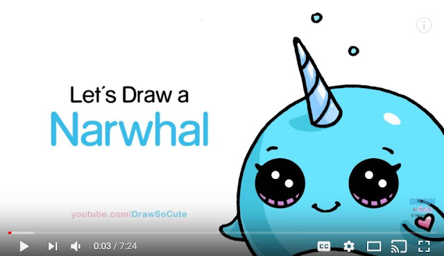 Video tutorial - how to draw a narwhal or chubby unicorn whale