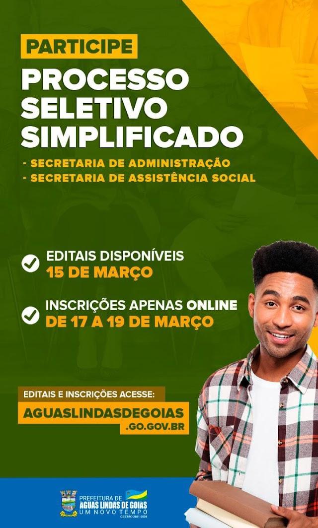 PARTICIPE DO PROCESSO SELETIVO SIMPLIFICADO DA PREFEITURA DE ÁGUAS LINDAS DE GOIÁS