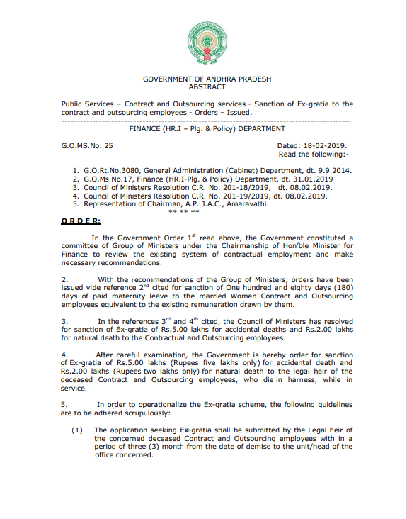G.O.Ms.No.25, Dated.18.02.2019 - Sanction of Ex-gratia to the Contract and Outsourcing Employees