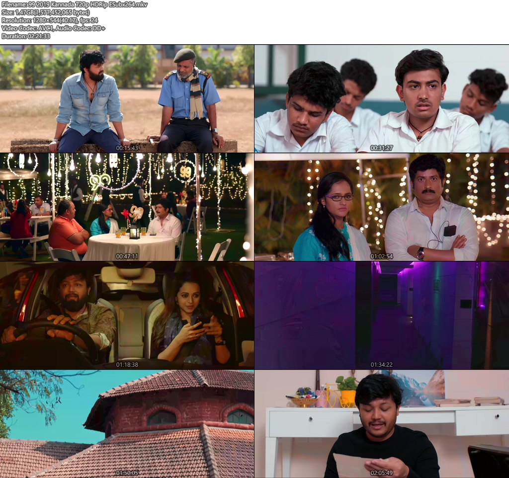 99 2019 Kannada 720p HDRip ESub x264   480p 300MB   100MB HEVC Screenshot