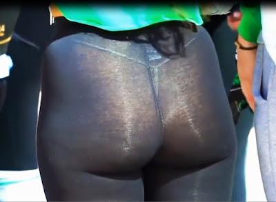 Video hermosa mujer leggins transparentes
