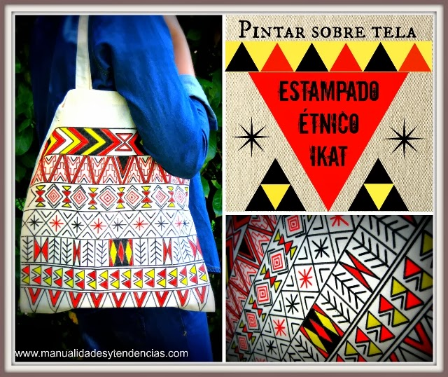 DIY: bolso estampado étnico ikat / ethnic ikat shopping bag / sac imprimé ethnique