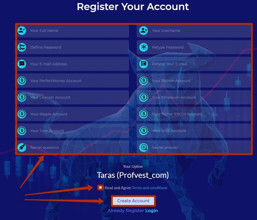 Регистрация в Bull Finance 2