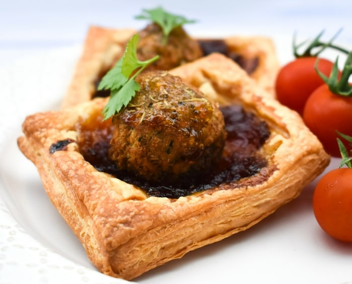 Close up of a mini falafel pie