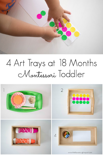 4 art trays to try with your Montessori toddler at 18 months