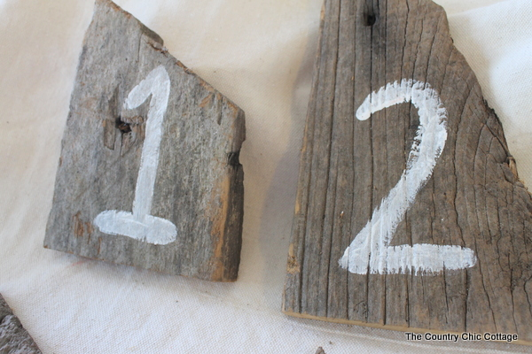 barn wood wedding reception table numbers