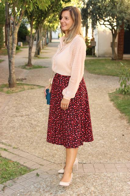 look du jour, jupe la redoute, color match rouge et rose, les petites bulles de ma vie