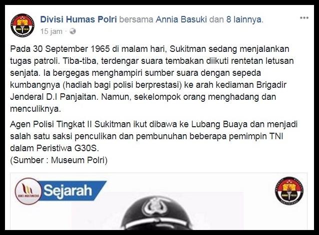 HEBOH.. Netizen Pertanyakan Kenapa Akun Div Humas Polri Tak Menyebut PKI, Tapi Hanya G30S
