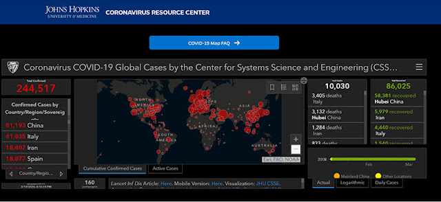 John Hopkins Dashboard (Source: John Hopkins, https://coronavirus.jhu.edu/map.html)