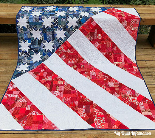 Old Glory Quilt Free Tutorial Designed by Kelly of My Quilt Infatuation