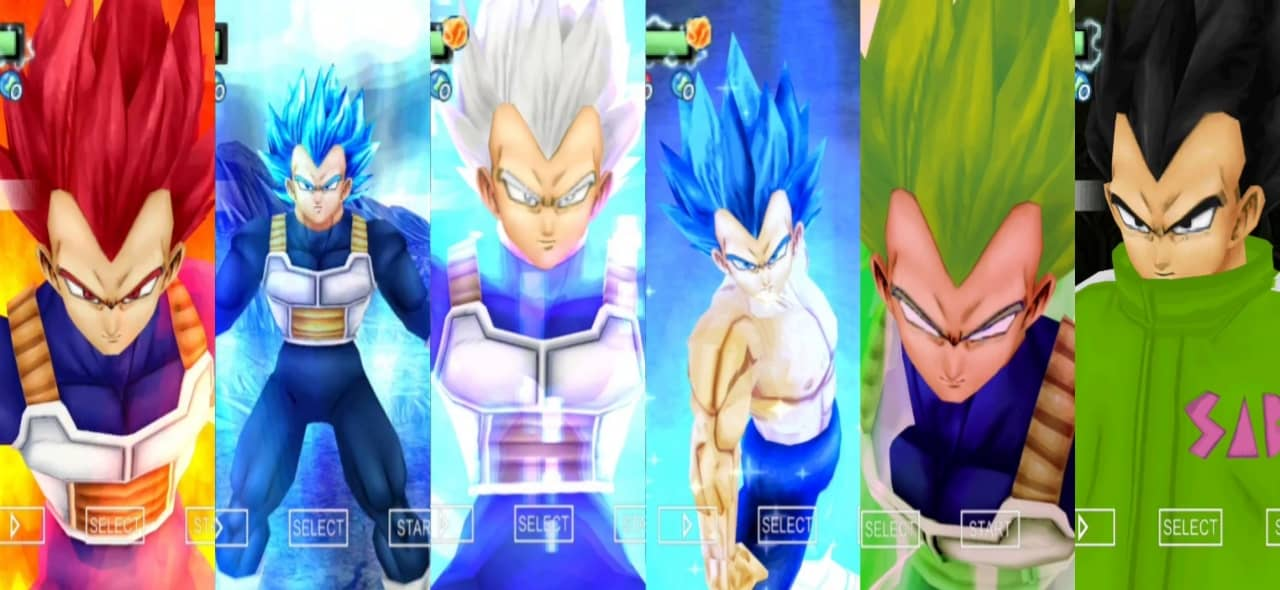 Dragon Ball Super Vegeta All Transformations