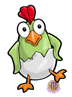 Cute baby rooster character from Rooster Race, a game developed by Imagine That! Design for Rosterfin Games