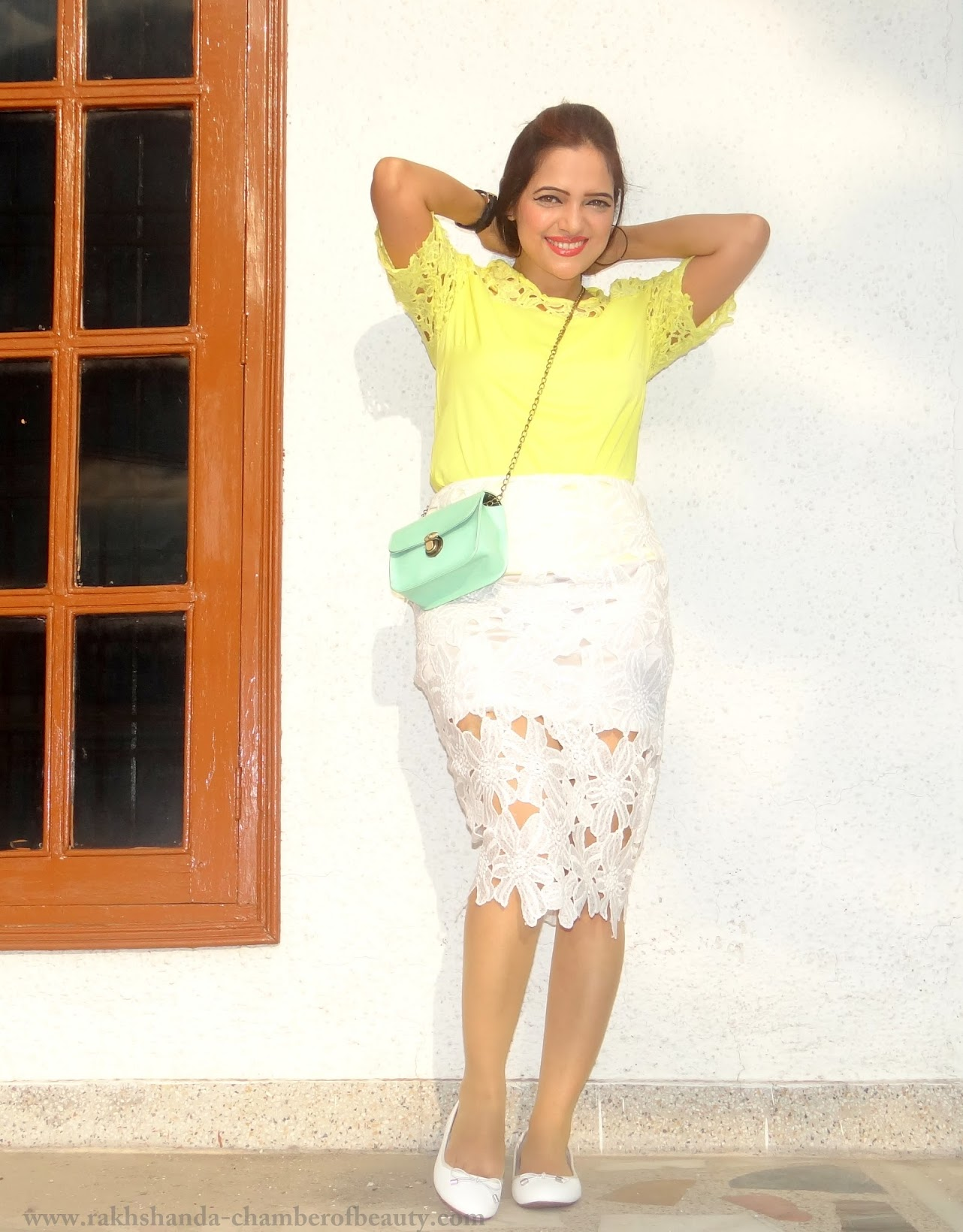 Lace on Lace-OOTD | How to style a lace top, Lace top from cndirect.com, summer fashion trends 2015, yellow lace top, Indian fashion blogger, Chamber of Beauty