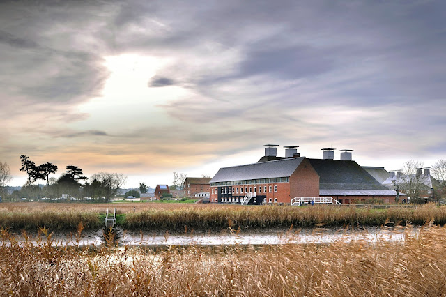 Aldeburgh Music and Snape Maltings Concert Hall from across the River Alde (Photo Philip Vile)