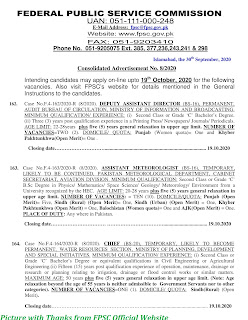 FPSC Jobs 2020 - Latest Jobs in FPSC October 2020 Apply Online www.fpsc.gov.pk Advertisement No. 08/2020