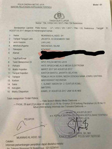 Jonru Dilaporkan ke Polisi - laporan bernomor: LP/4153/ VIII/2017/ PMJ/Dit. Reskrimsus