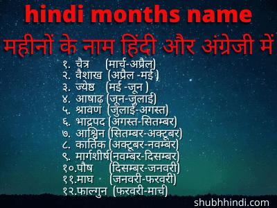 hindi months name महीनों के नाम हिंदी और अंग्रेजी में