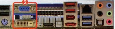 VGA dan DVI port untuk koneksi VGA terintegrasi.