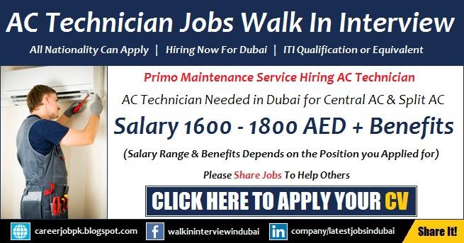 AC Technician Jobs in Dubai Walk in Interview Latest Vacancy