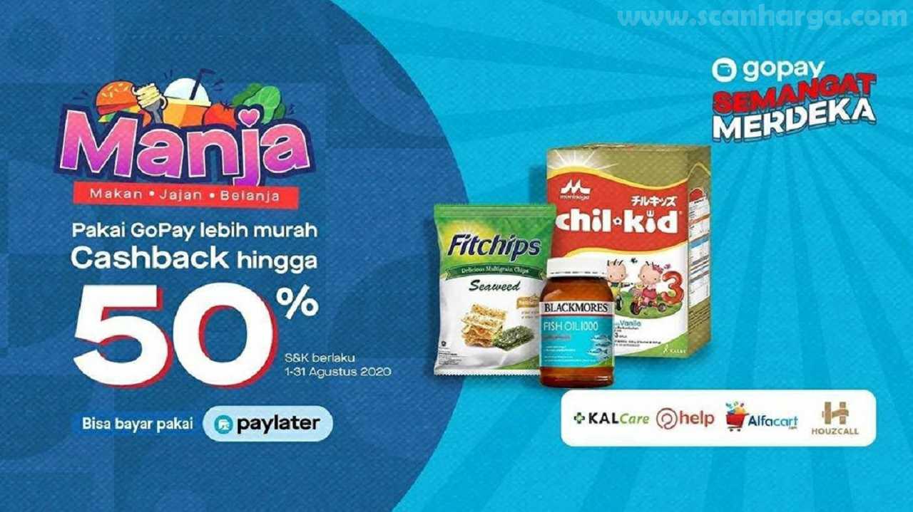 Gopay Manja – Promo Makan Jajan Belanja Cashback + Diskon 50%