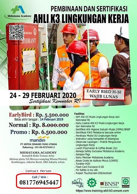Ahli K3 Muda Lingkungan Kerja tgl. 24-29 Februari 2020 di Jakarta