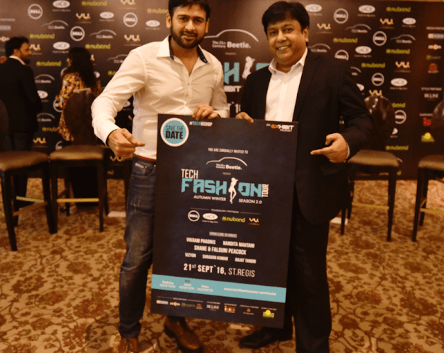 Mr. Ramesh, Somani,CEO & Founder, Exhibit Technologies with Mr. Kamal Basu, Marketing Head, Volkswagen at the launch event of Beetle's Tech Fashion Tour 2016 organized by Exhibit Technologies-